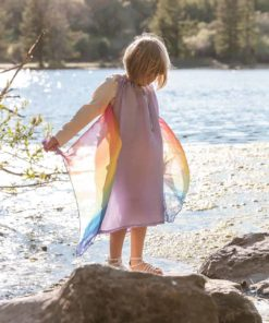Silk fairy dress lavender rainbow with wings - Sarah's Silks