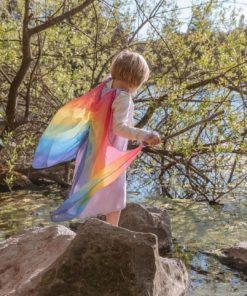 Silk fairy dress lavender rainbow with wings - Sarah's Silks