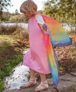 Silk fairy dress: pink/rainbow - Sarah's Silks