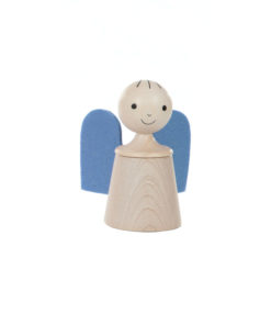 Wooden musical guardian angel in blue - SINA Spielzeug