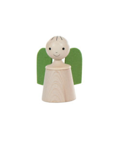 Wooden musical guardian angel in green - SINA Spielzeug