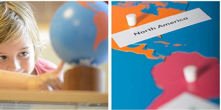 Montessori prepared environment Geography must-have materials_Nienhuis Montessori coloured globe of the continents & puzzle maps
