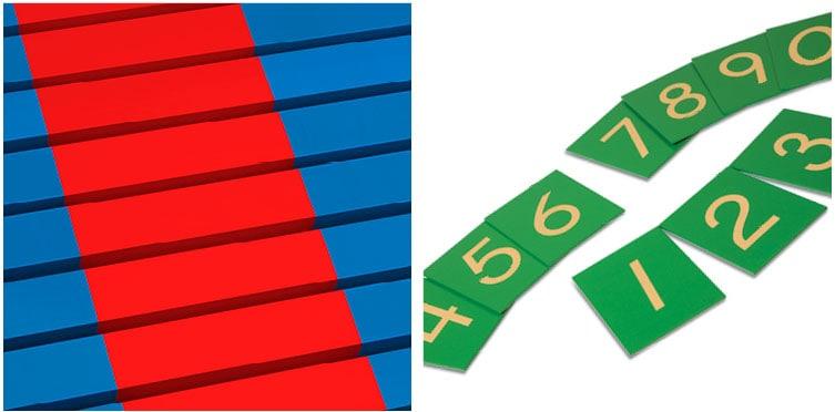 Montessori prepared environment essential Mathematics materials_Nienhuis Montessori number rods & sandpaper numerals