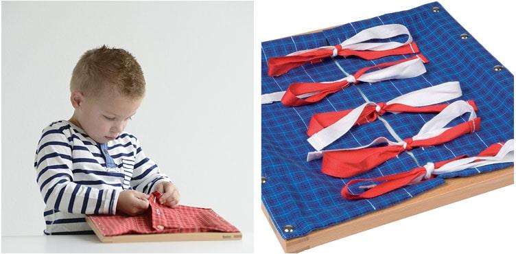 Montessori Practical Life must-have mnaterials_Nienhuis Montessori dressing frames