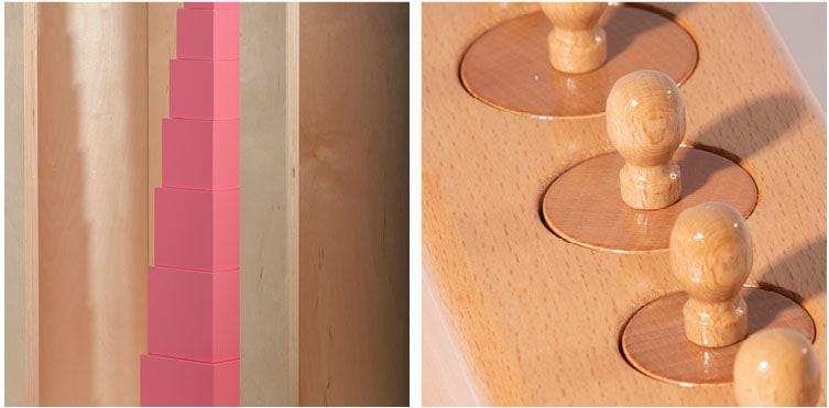 Montessori Sensorial must-have materials_Nienhuis Montessori pink tower & cylinder blocks