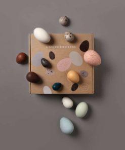 A dozen wooden bird eggs in a box - Moon Picnic