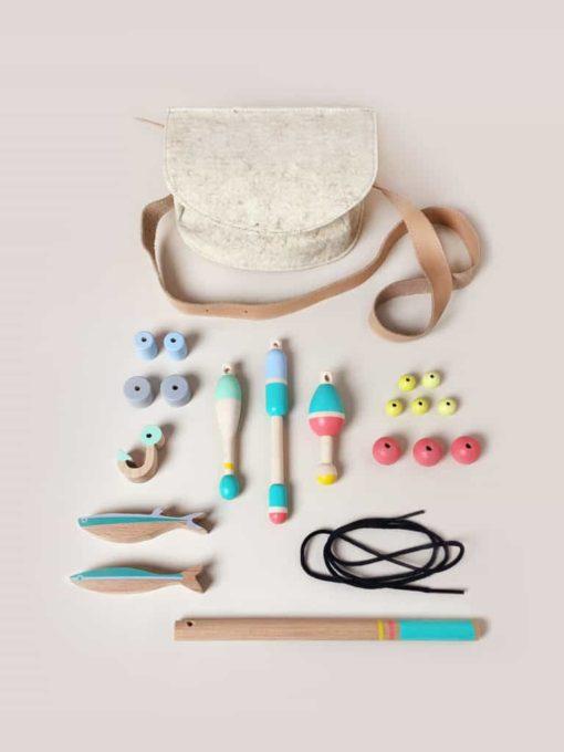 Handmade fishing pretend play set Fishing bag - Eperfa