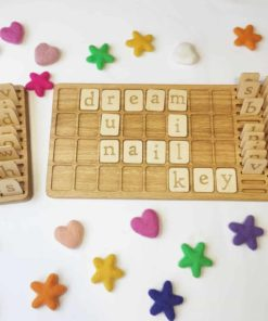 Montessori inspired learning toy Wooden alphabet board English - Threewood