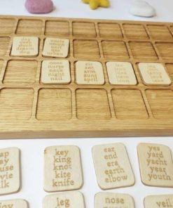 Wooden alphabet letters and words board English Threewood1