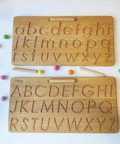 Tableau de traçage de l'alphabet en bois - Threewood