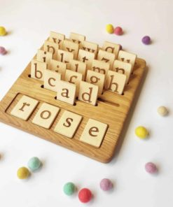 handmade Montessori learning toy Wooden letters board English Threewood