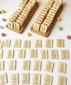 Handmade Montessori inspired learning toy Wooden letters sets English - Threewood