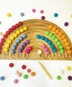 jouet d'apprentissage inspiré Montessori fait main Planche de traçage arc-en-ciel en bois - Threewood