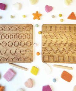 Jouet d'apprentissage d'inspiration Montessori fait main Planche à tracer en bois - Threewood