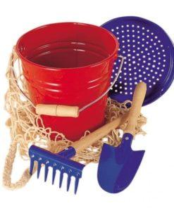 Child size gardening sand tools 4-piece metal bucket set red/blue - Glückskäfer