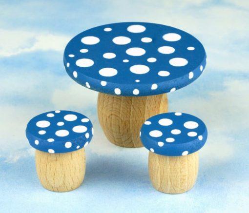 Dream Table and Stools Set wheat Blue - Droomdeurtjes - Teia Education Switzerland