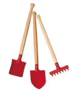 child size wooden gardening tools Garden tool set 3 pieces 39cm red - Glückskäfer