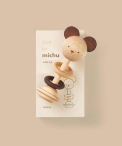 Sustainable wooden baby toy Nice to Michu baby rattle - Oioiooi