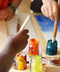 Waldorf wooden holder & paint jarswooden painting board Mercurius