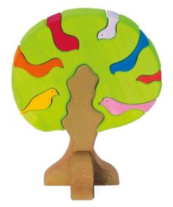 Wooden bird tree puzzle / Handmade wooden puzzle and stacking toy – Glückskäfer