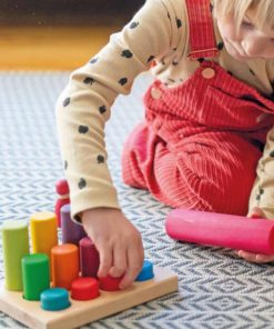Small rainbow rollers stacking game / handmade wooden toy - Grimm's