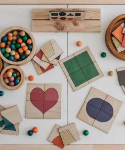 8 shape coloured wooden matching tiles - 5 Little Bears