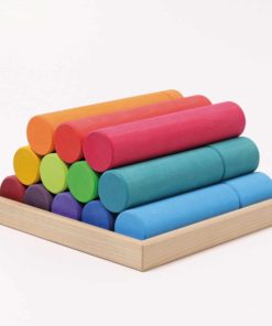 Large rainbow rollers stacking game - Grimm's