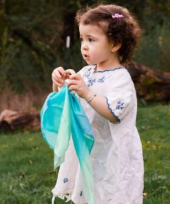 Silk & wood baby teether in sea colours - Sarah's Silks