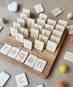 Wooden letters board German Threewood Montessori inspired learning toy