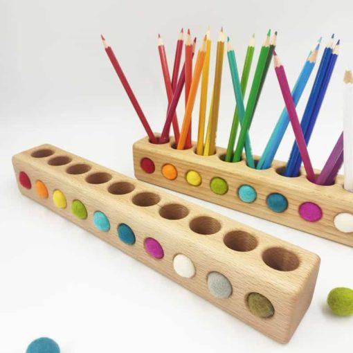 Wooden Montessori holder for coloured pencils - Threewood