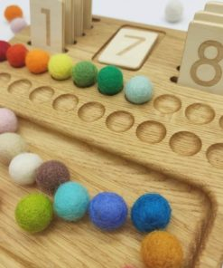Wooden handmade reversible numbers 1-20 board with reversible tiles / Montessori inspired learning toy - Threewood