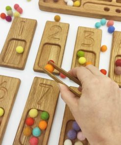 Wooden handmade math set 1-20 board with reversible trays / Montessori inspired learning toy - Threewood